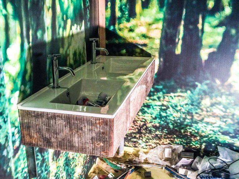 Wasbak meerpalen hout